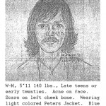 Sketch provided by witness who was at Wheaton Plaza on the day of the Lyon sisters disapperance.   The witness stated that the person depicted in the sketch was fixated on the girls.