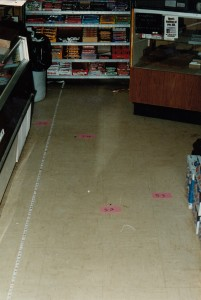 Blood evidence left by the suspect at the Sugarloaf Market